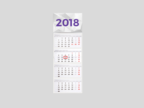 Kalendarze czterodzielne 31x97,5cm