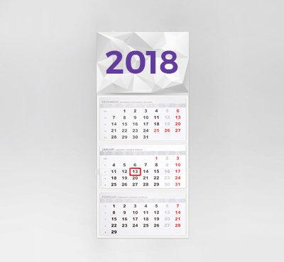Kalendarz trójdzielny z kształtem główki